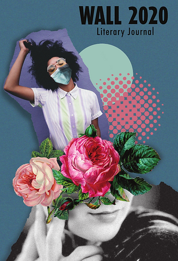 A woman pulling her hair while wearing a mask hovers above two roses and the covered face of another woman