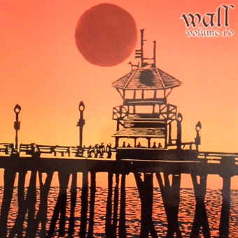 The Huntington Beach Pier silhouetted in black under a bright orange sun and sky graces the cover of the 2010 edition of WALL.
