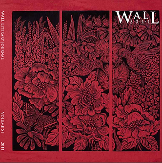A profusion of flowers in red fills three panels backdropped by black in this lincout featured on the cover of WALL 2011.