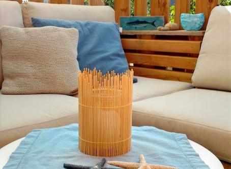 Windlicht aus Holzstäbchen