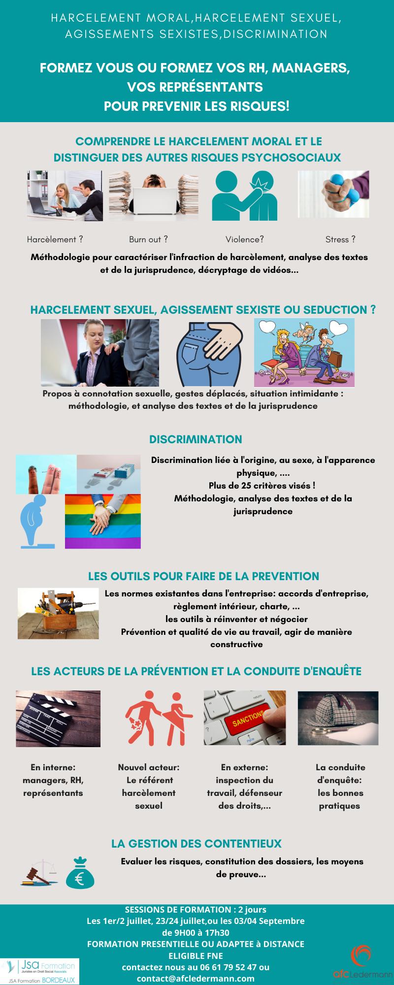 Formation HARCÈLEMENT MORAL HARCÈLEMENT SEXUEL AGISSEMENTS SEXISTES ET DISCRIMINATION