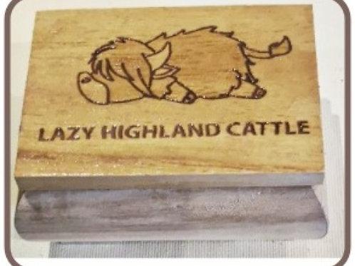 Holzkistchen Lazy Highland Cattle