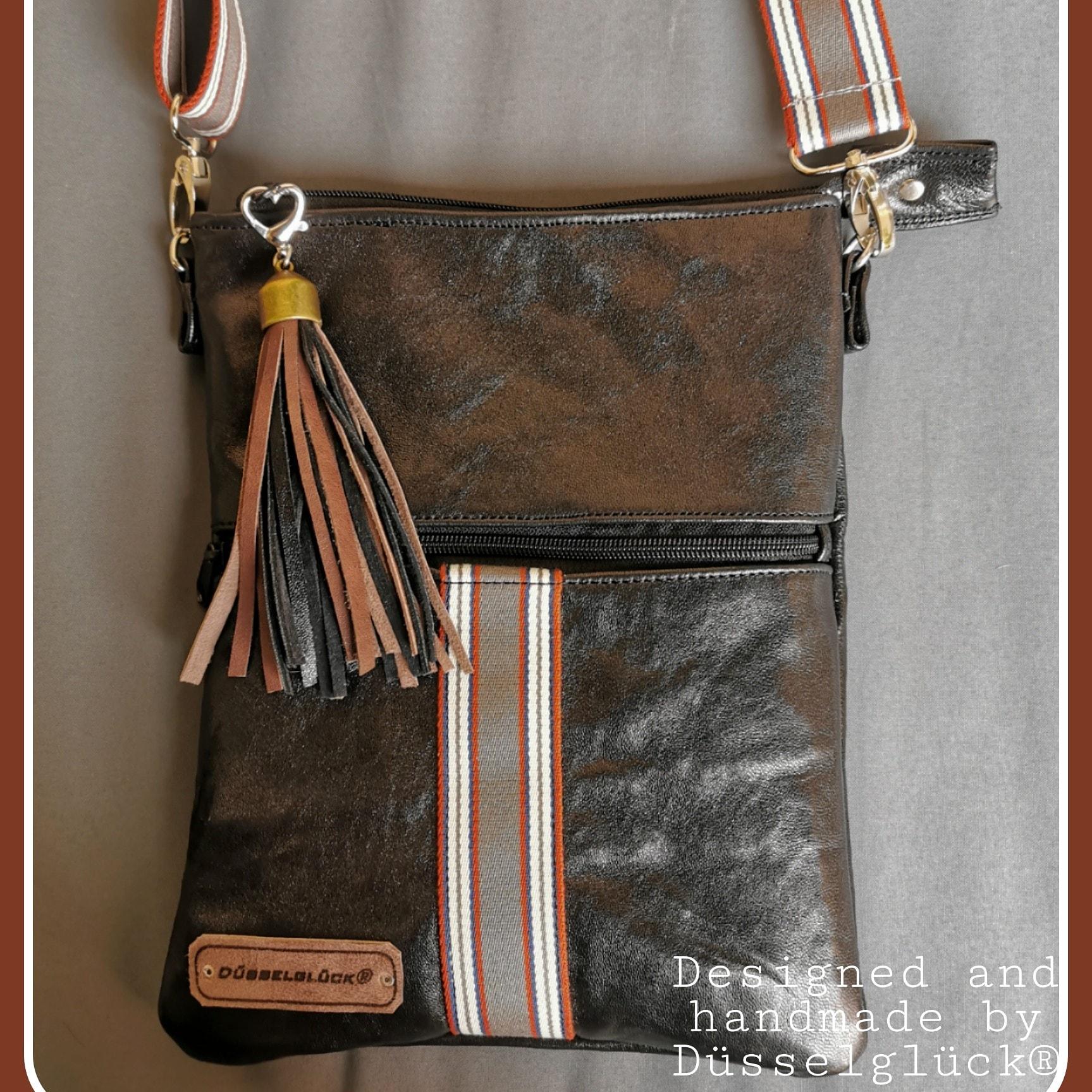 Schwarze Nappaleder Tasche mit Streifen
