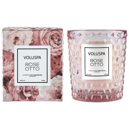 Voluspa Rose Otto Textured Glass Candle