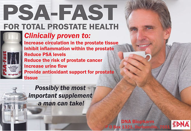 PSA-Fast contains potent levels of synergistic herbs, nutrients and phytochemicals that have been scientifically researched to support the health and wellness of the prostate gland.