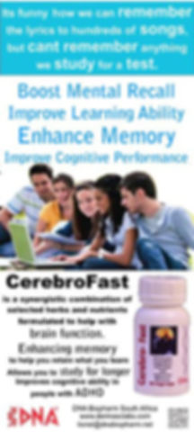 Cerebrofast enhances memory function.