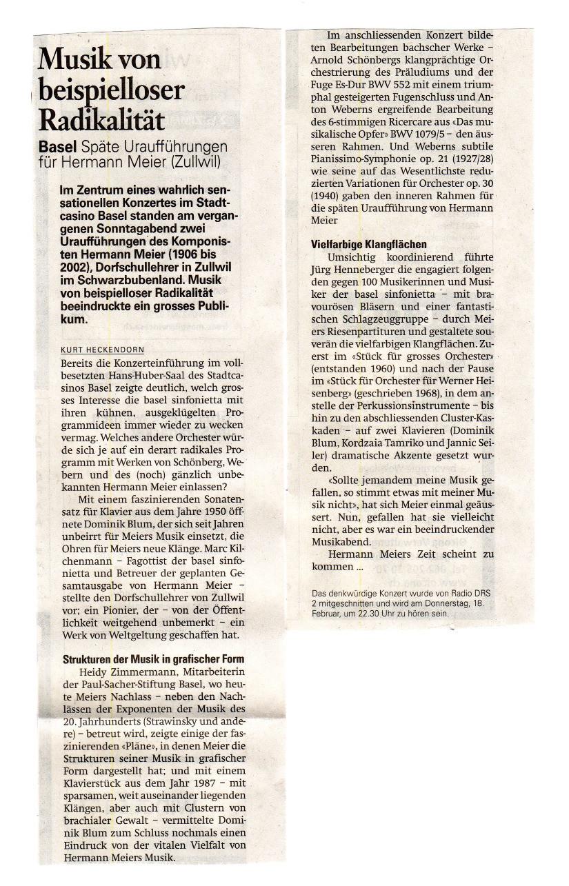 Hermann Meier - Musik von beispielloser Radikalität