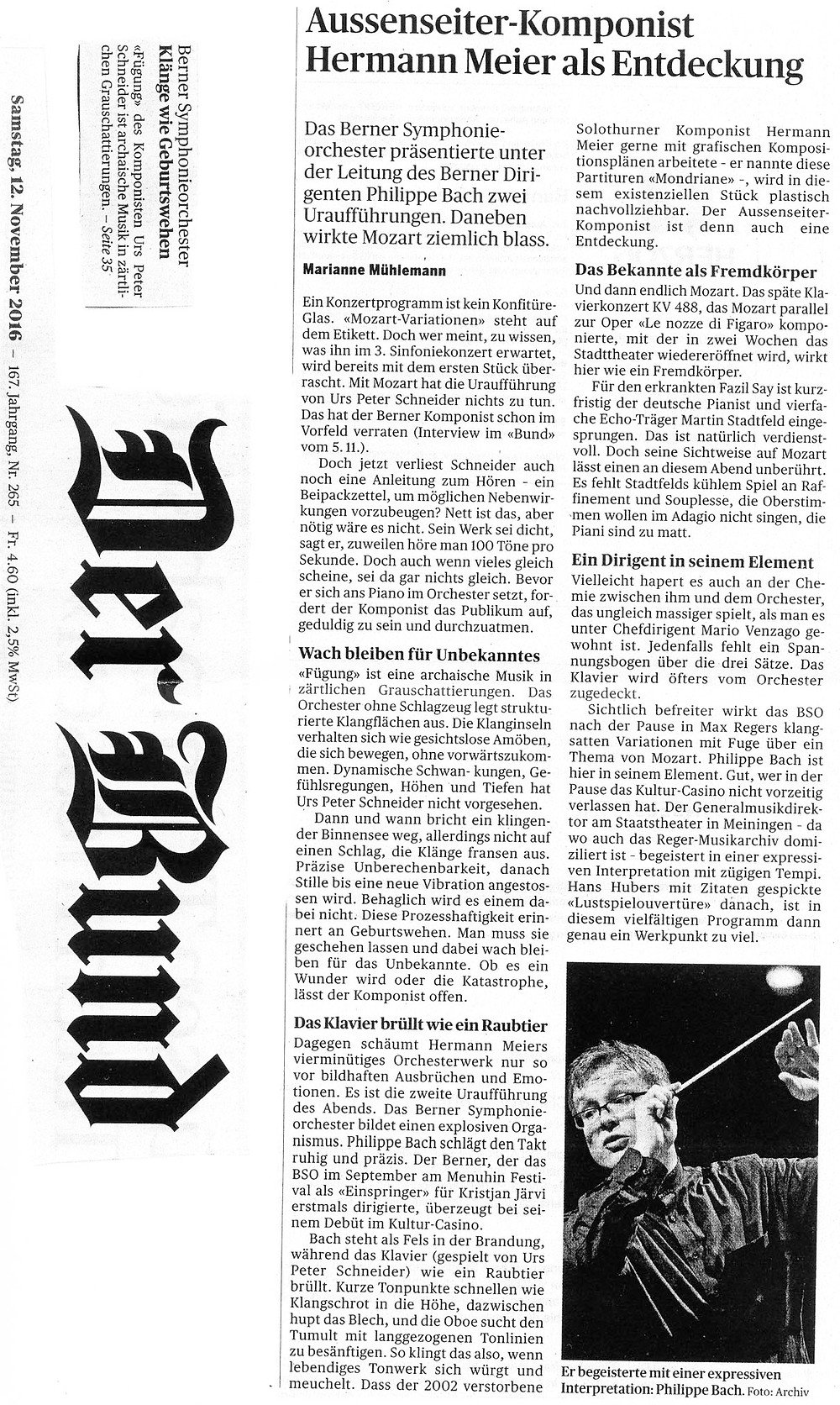 Aussenseiter-Komponist Hermann Meier als Entdeckung, gespielt vom Berner Symphonieorchester, Leitung Philippe Bach