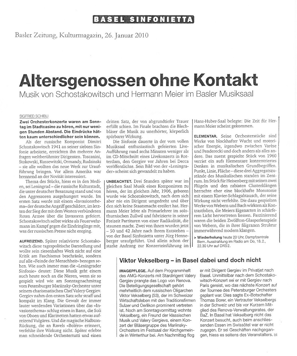 Hermann Meier Kritik Basel Sinfonietta