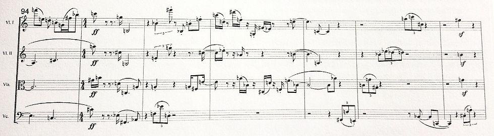 Hermann Meier, Streichquartett, (Abschlussdatum 9.1.1946), Takt 94-100  © aart-verlag Bern und Paul Sacher-Stifung, Basel.