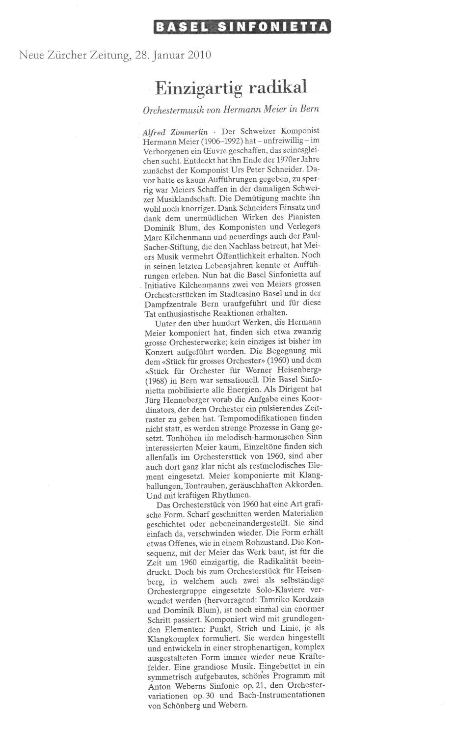 Hermann Meier - Einzigartig radikal, Neue Zürcher Zeitung