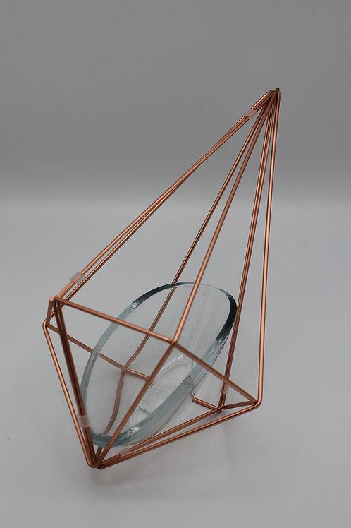 LOC233 - Centre de table géométrique Cuivre + Verre 3 formes