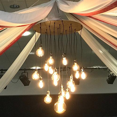 LOC158 - Suspension centre éclairant ampoule vintage + cadre