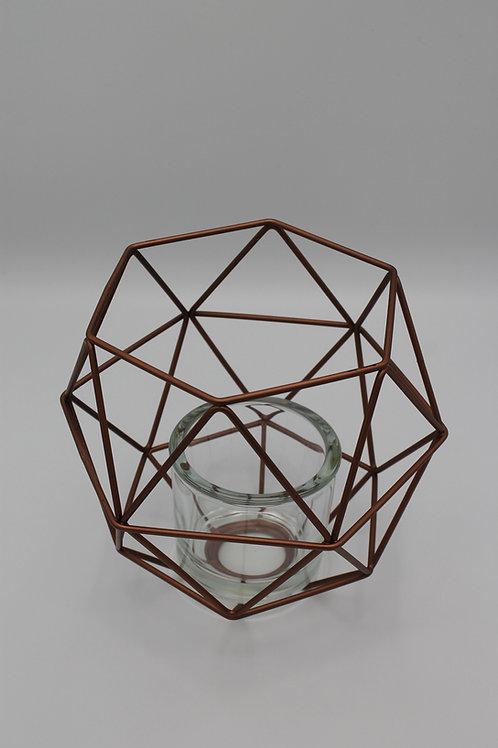 LOC228 - Centre de table géométrique Cuivre + Verre 20cm