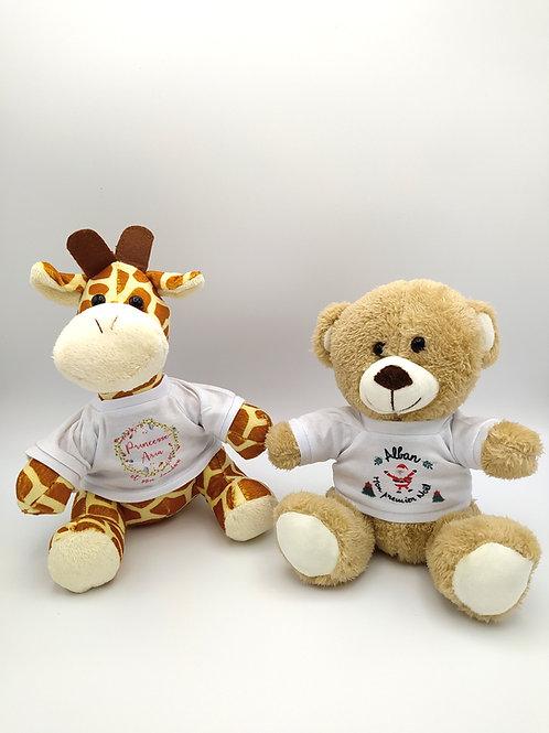 Peluche ours brun ou girafe