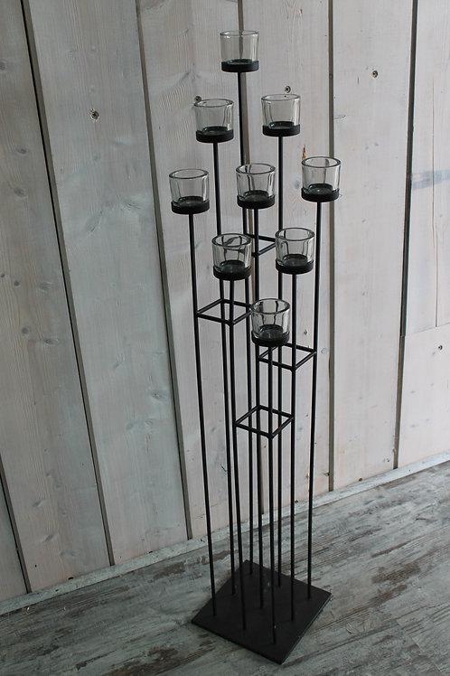 LOC152 - Support fer forgé Photophore noir + verres