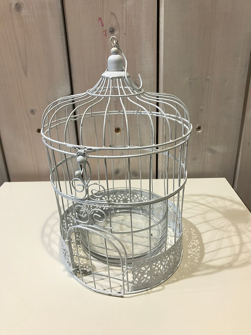 LOC103 - Centre de table Cage Oiseau blanc
