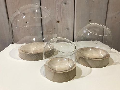 LOC180 - Centre de table verre boule ø19cm avec socle bois