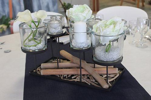 LOC173 - Centre de table métal photophore 9 supports verre Marlon