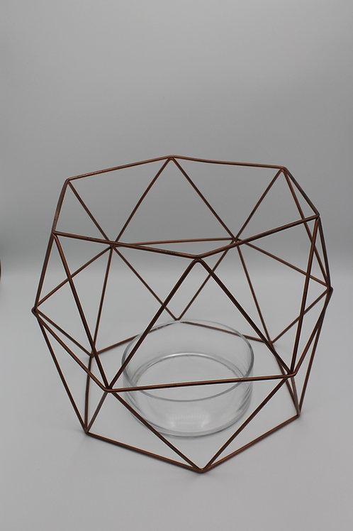 LOC230 - Centre de table géométrique cuivre + verre 30cm