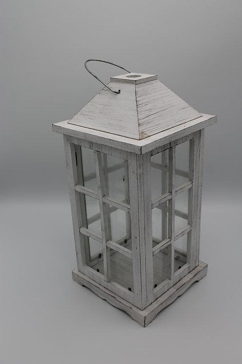LOC110 - Centre de table Lanterne 30cm bois blanc