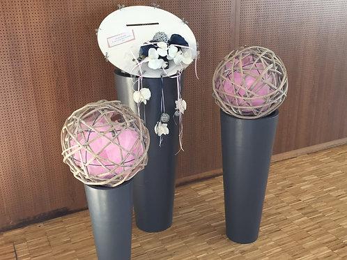 LOC080 - Triptyque vasque ronde grise + boules osier