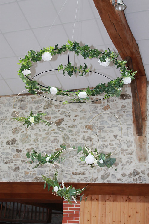 LOC246 - Suspension double cercle ø1m + fleurs