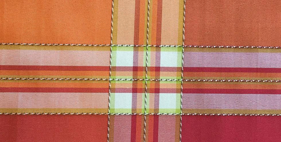 Textured Plaid - Orange & Pink