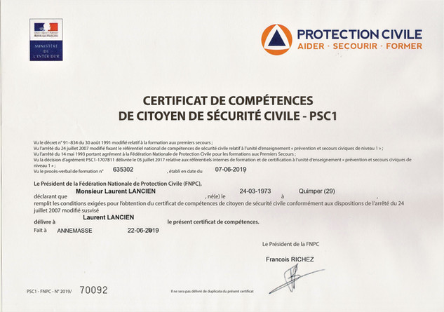 PSC1 Protection Civile
