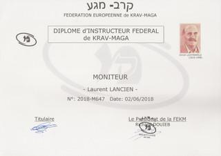 Diplome Moniteur de Krav Maga