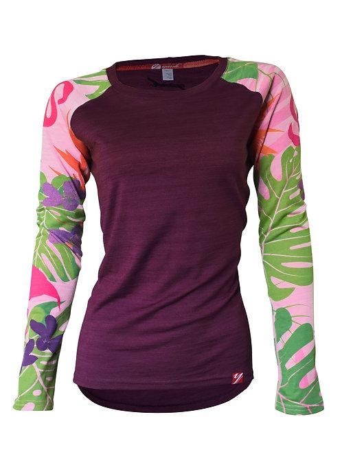 Women's Flamingo Long Sleeve Merino Shirt    Purple