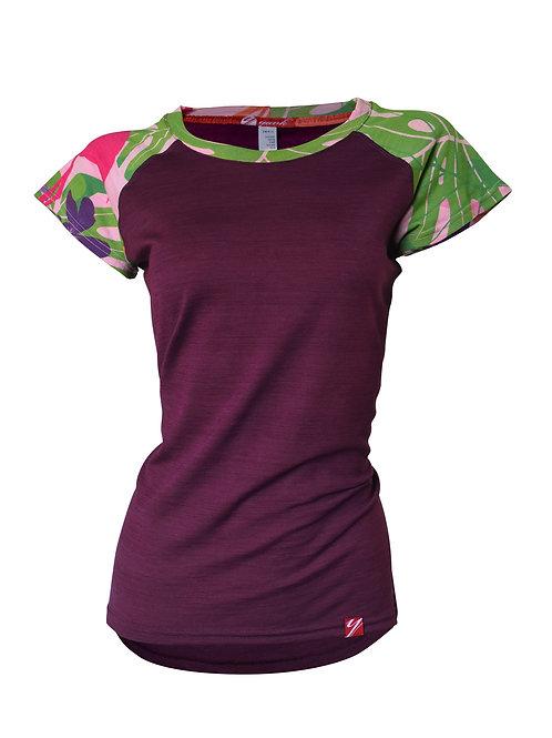 Women's Flamingo Short Sleeve Merino Shirt  | Purple