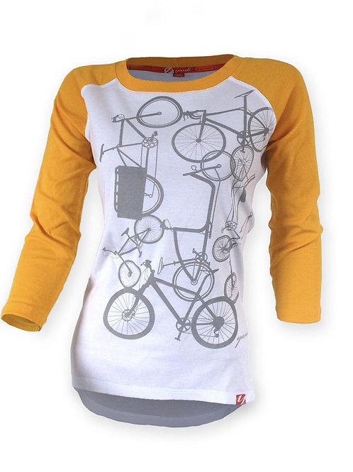 Women's Classic Yellow 3/4 Sleeve Ribbed Merino Shirt