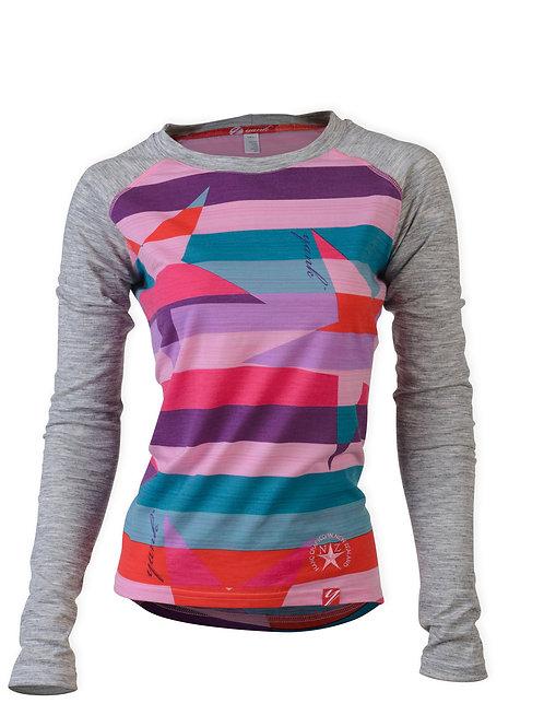SECONDS Women's Pink Candy Rock Star Long Sleeve Merino Shirt  | Stripe