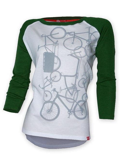 Women's Classic Green 3/4 Sleeve Ribbed Merino Shirt