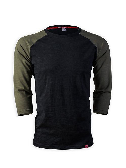 Men's 3/4 Sleeve Merino Shirt  | Bubbling Mud