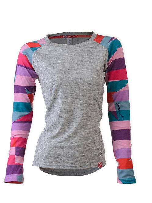 SECONDS Women's Pink Candy Rock Star Long Sleeve Merino Shirt    Grey