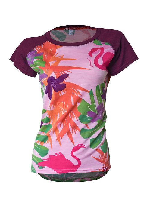 Women's Flamingo Short Sleeve Merino Shirt  | Tropical