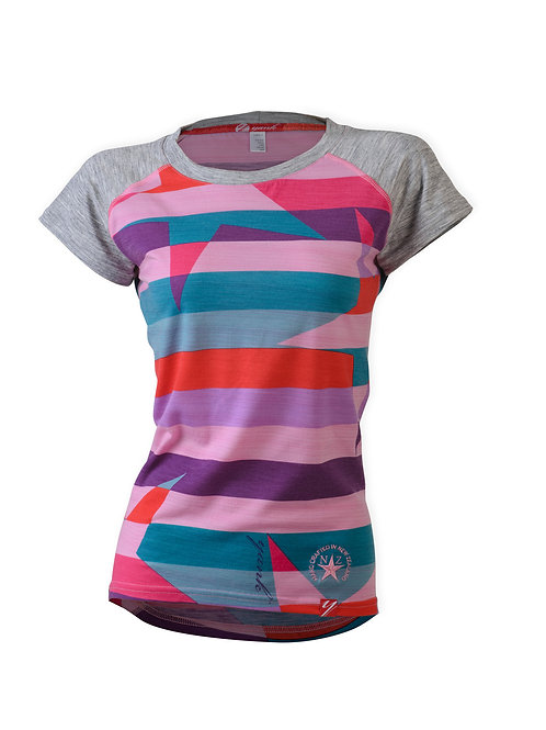 Women's Pink Candy Rock Star Short Sleeve Merino Shirt  | Stripe