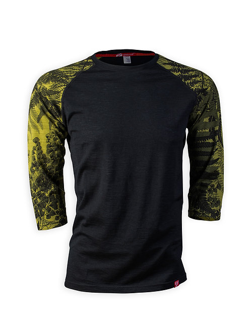 Men's 3/4 Sleeve Merino Shirt  | Flora Moss