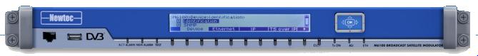 NEWTEC M6100, Modulador Satelital, DVB-S/S2/SX, 216Mbit/s, IF/Banda L, PBRS, 1UR