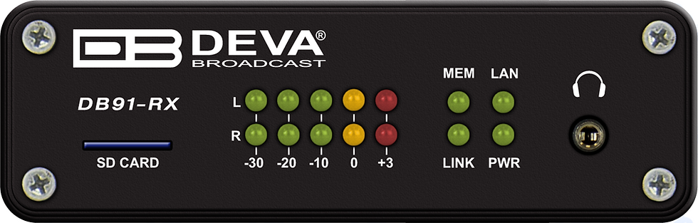 DEVA DB91-RX,COMPACT IP AUDIO DECODER,HE-AAC,MPEG-1,32/44,1/48 kHz,RCA,Multicast