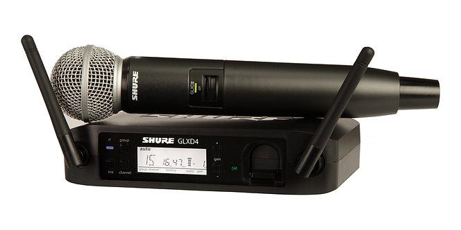 SHURE GLXD24/SM58, Micrófono transmisor inalámbrico, Z2 2400-2483.5MHz, Rango60m