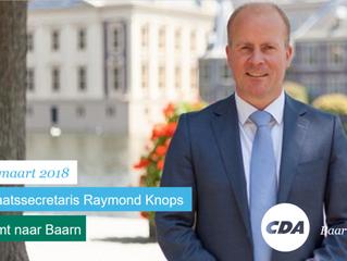 Staatssecretaris Raymond Knops (CDA) komt naar Baarn