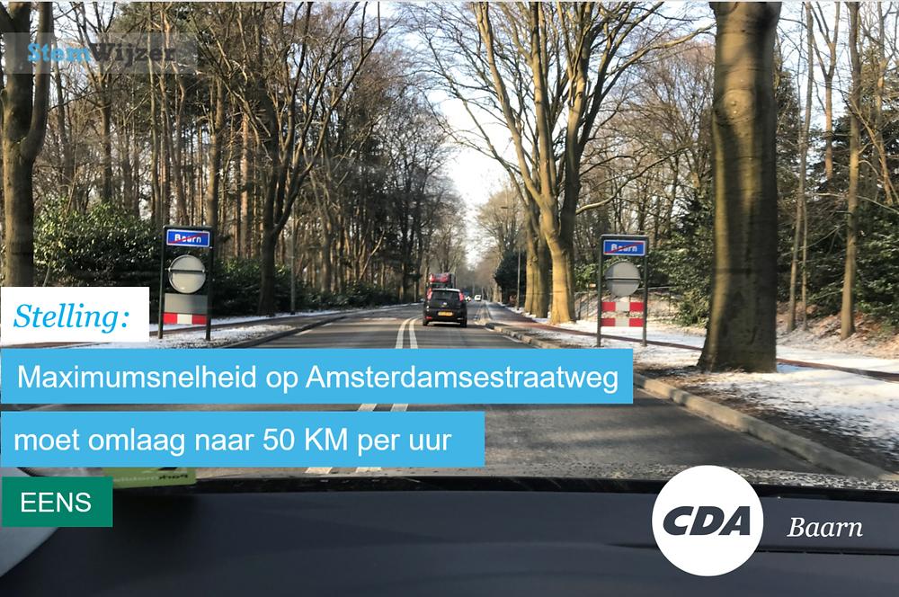 Stemwijzer Baarn maximumsnelheid Amsterdamseweg