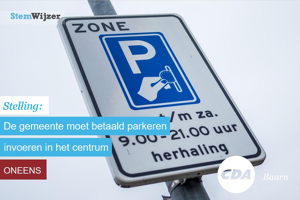 Stelling Stemwijzer Baarn over betaald parkeren