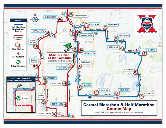 2020 Carmel Marathon and Half Course Map