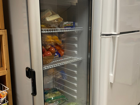A new fridge offers lots of space for fresh produce and dairy.