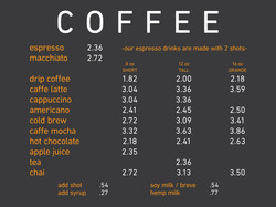 Herkimer Coffee Menu
