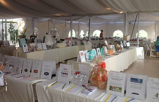 Silent auction items displayed on tables